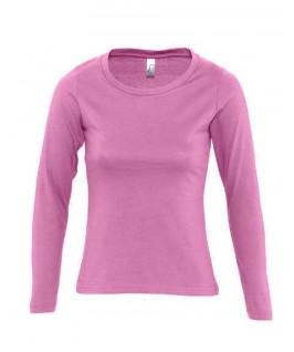 Camiseta manga larga rosa chicle