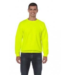 Sudadera cuello redondo amarillo fluorescente