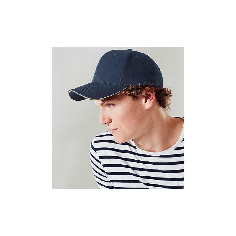 Gorra algodón grueso azul marino con marrón arena