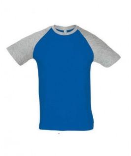 Camiseta azul eléctrico y gris jaspeado