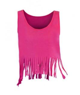 Camiseta Noche con flecos rosa fluorescente