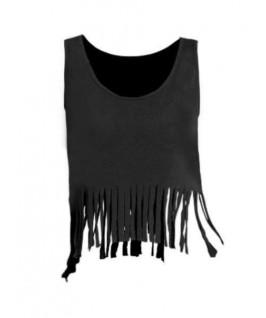 Camiseta Noche con flecos negra