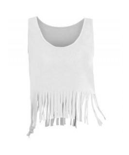 Camiseta Noche con flecos blanca