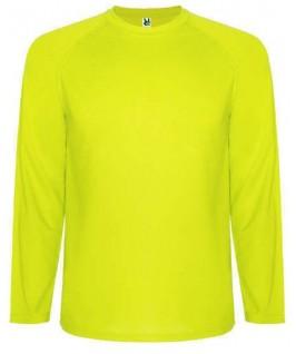 Camiseta técnica manga larga amarillo fluorescente