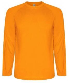 Camiseta técnica manga larga naranja fluorescente