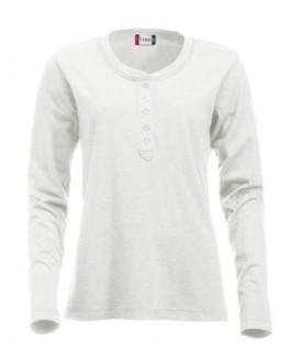 Camiseta manga larga con botones blanco roto