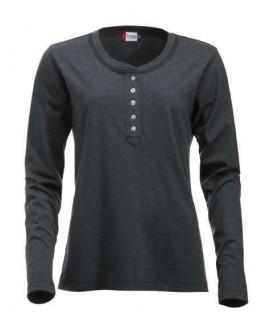 Camiseta manga larga con botones gris jaspeado oscuro