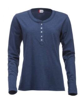 Camiseta manga larga con botones azul marino jaspeado