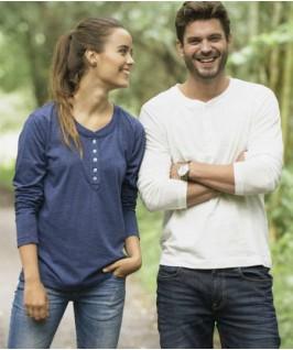 Camiseta manga larga con botones Orlando Hombre-Mujer