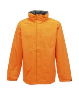 Chaqueta impermeable naranja con gris