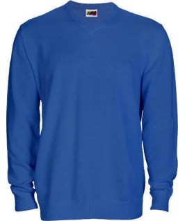 Jersey punto cuello pico azul eléctrico