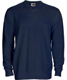Jersey punto cuello pico azul marino