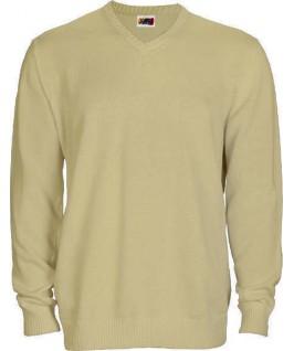 Jersey punto cuello pico beige