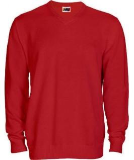 Jersey punto cuello pico rojo