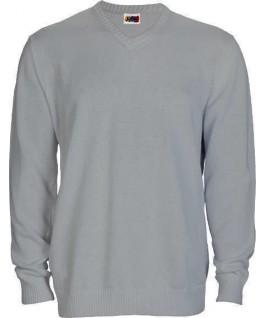 Jersey punto cuello pico gris jaspeado