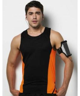 Camiseta Sport negro con naranja fluorescente