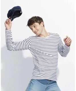 Camiseta rayas blanco con azul marino