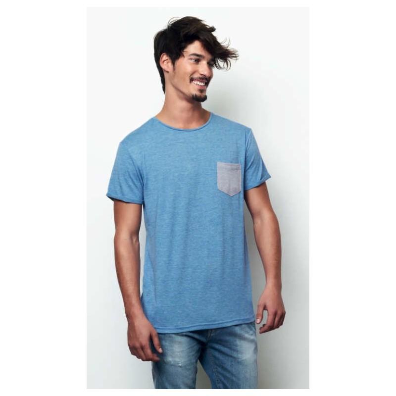 Camiseta con bolsillo azul cielo con gris