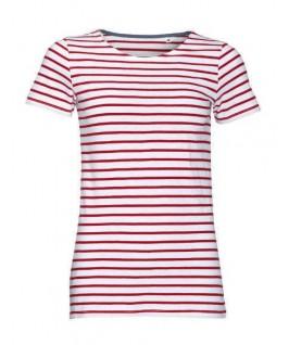 Camiseta rayas blanco con rojo