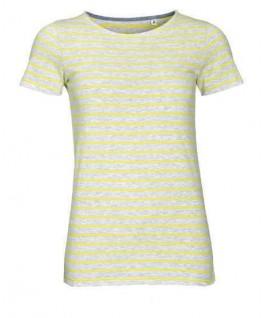 Camiseta rayas gris jaspeado con amarillo