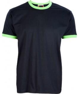 Camiseta ringer negro con verde pistacho