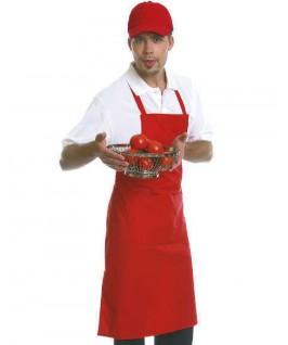 Delantal peto con bolsillo rojo