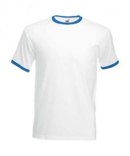 Camiseta ringer blanco con azul eléctrico