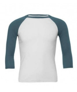 Camiseta Baseball blanco con azul tejano
