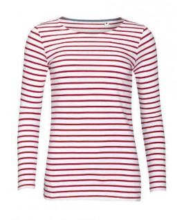 Camiseta a rayas blanco con rojo