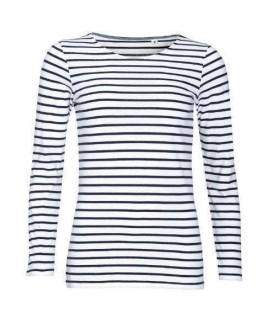 Camiseta a rayas blanco con azul marino