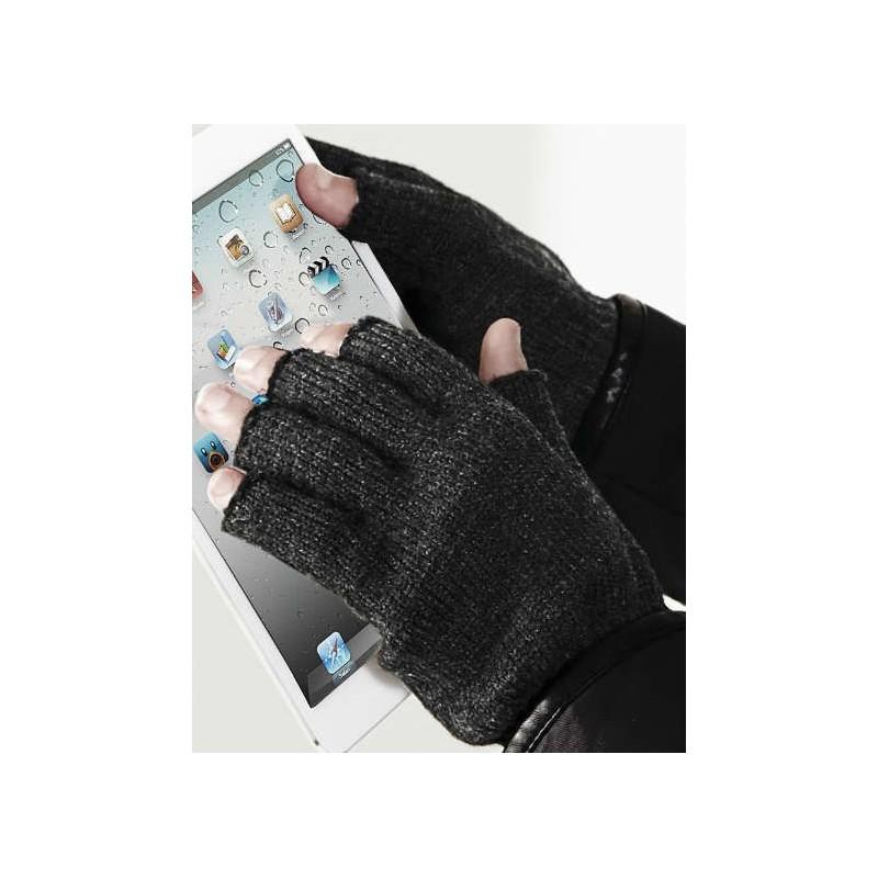 Guantes sin dedos gris oscuro