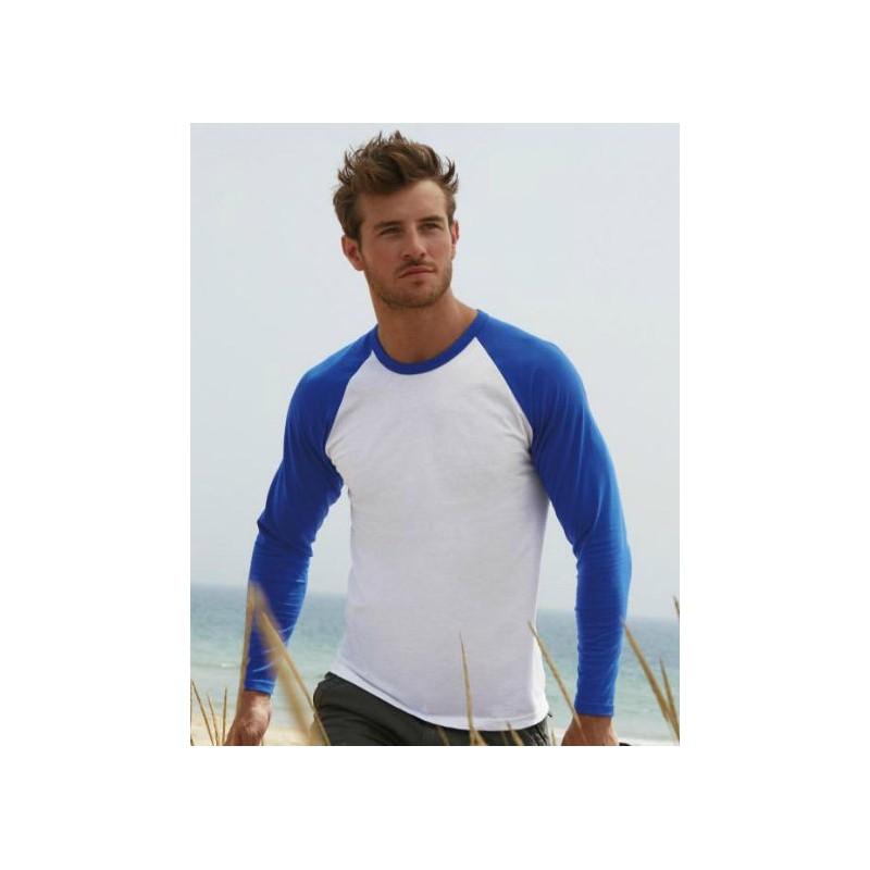 Camiseta baseball blanca con azul eléctrico