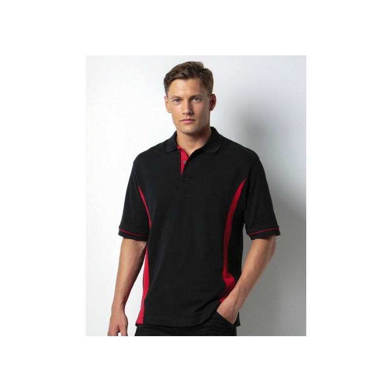 Polo manga corta negro con rojo