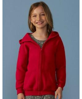 Sudadera capucha y cremallera roja