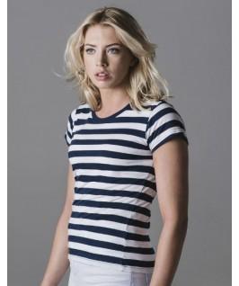 Camiseta a rayas azul marino con blanco