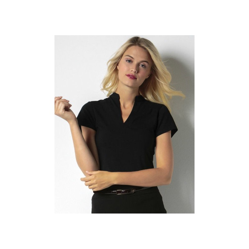 Camiseta cuello mandarín negra