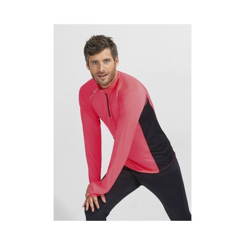 Camiseta running coral fluorescente