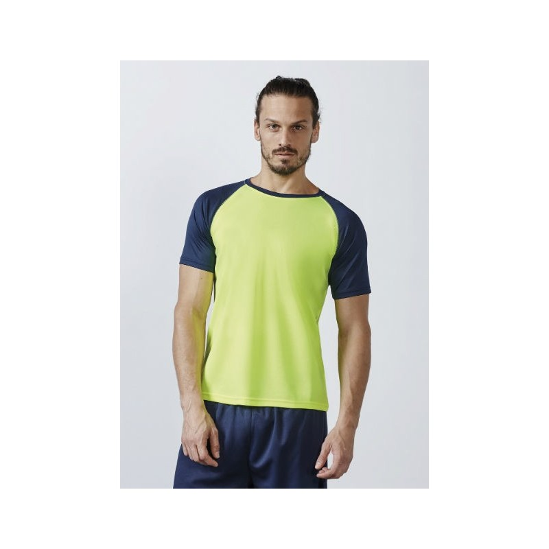 Camiseta técnica amarillo fluor con azul marino