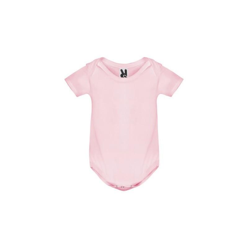 Body manga corta rosa suave