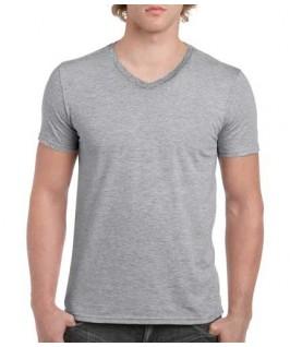 Camiseta Cuello V gris jaspeado