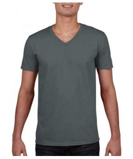 Camiseta Cuello V gris oscuro