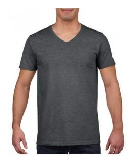 Camiseta Cuello V gris jaspeado oscuro
