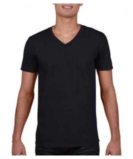 Camiseta Cuello V negro