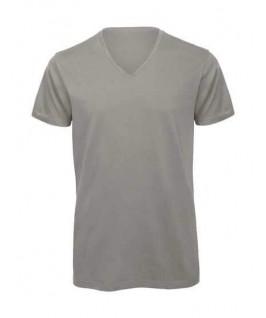 Camiseta orgánica cuello V gris claro
