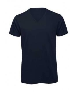 Camiseta orgánica cuello V azul marino