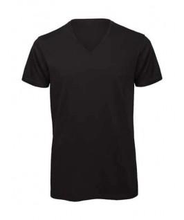 Camiseta orgánica cuello V negra