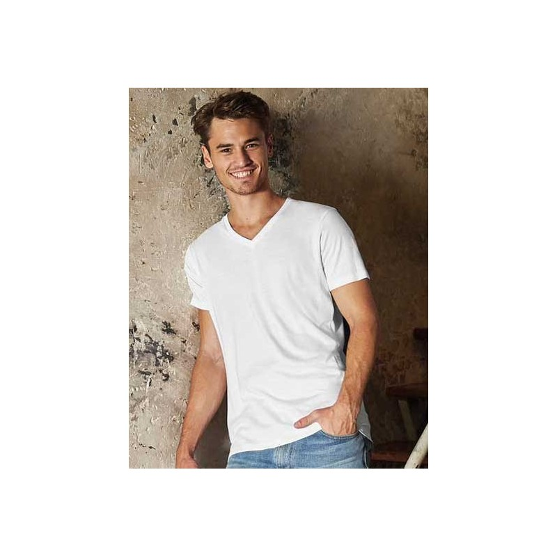 Camiseta orgánica cuello V blanca