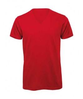Camiseta orgánica cuello V roja