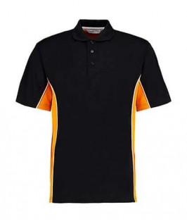 Polo deportivo negro con amarillo oro
