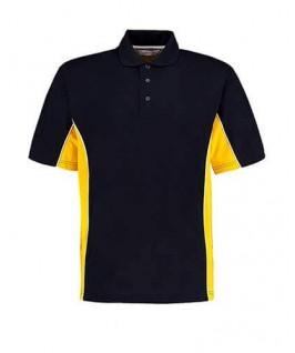 Polo deportivo azul marino con amarillo